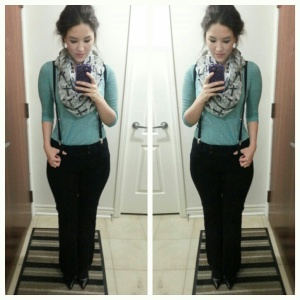 [Details: call it spring cross scarf, hot topic suspenders, H&M green three-quarter length top, R&W black pant, and Jessica Simpson black heels from Sears collection]