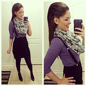 [Details: H&M purple three-quartered top and black pencil skirt, and call it spring cross scarf]