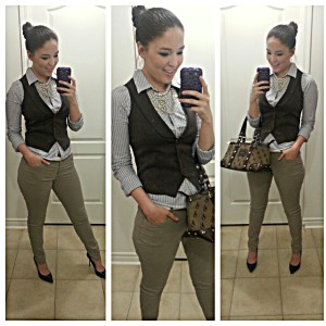 [Details: H&M vest and skinnys, with an Aeropostale striped button up, and Jessica Simpson from Sears black pointed heels]