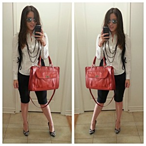[Details: H&M vest, button-up, and pant, with target bag, and nine west heels]