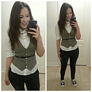 [Details: H&M pant, and button-up, Bebe vest, and a pair of converses from target]