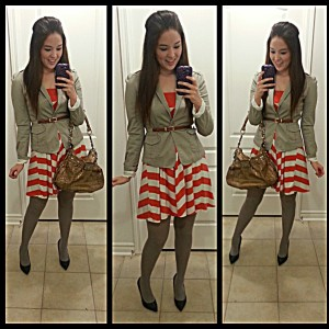 [Details: Dress from Old navy, blazer from H&M, and Guess purse]