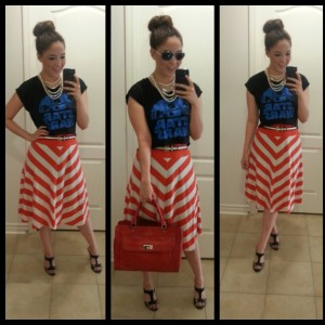 [Details: H&M sunglasses and necklace, thinkgeek.com star wars tee, old navy skirt, target bag, and payless heels]