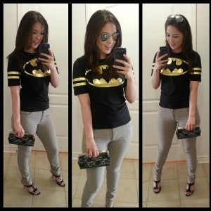 [outfit: batman gifted tee, h&m skinnys, goodwill lace clutch and sandal]