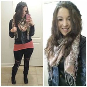 [Outfit: H&M hat, townshoes boots, marshalls pink sweater, goodwill vest and scarf]
