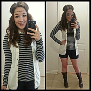 [Outfit: H&M stripped top and shorts, goodwill vest]