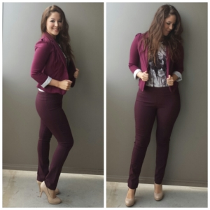 [ Details: Maroon H&M blazer, Marshalls feathered-tanktop, RW.co Oxblood pant, and Nude target pumps ]
