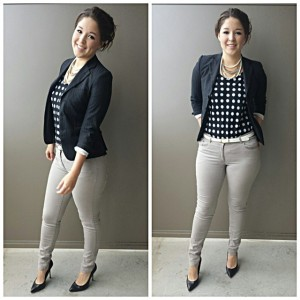 beige polka dot outfit