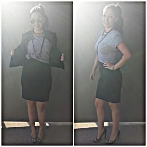 boyfriend tee and skirt