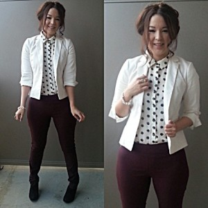 polka dot blouse under jacket