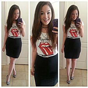 Pencil Skirt and Rolling stone tee