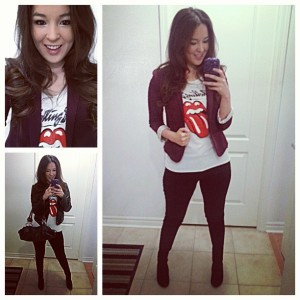 Red jacket- rolling stone tee