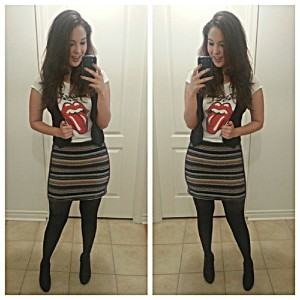 stripped H&M skirt - Rolling stone tee