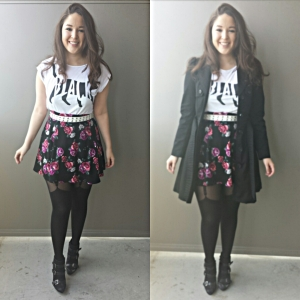 [ Trench: H&M | Black Cat Tee: H&M | Floral Skirt: H&M | Tights: @timefortights | Booties: Target ]