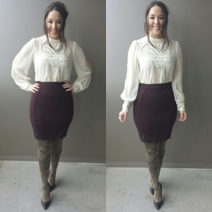 [ Top: @concreterunway_ | Skirt: Goodwill | Tights: @timefortights | Heel: Nine West ]